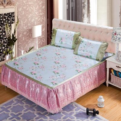蕾丝床裙款三明治冰丝席 1.5米床 陌上花颜-绿色