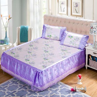 蕾丝床裙款三明治冰丝席 1.5米床 陌上花颜-紫色