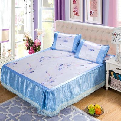 蕾丝床裙款三明治冰丝席 1.5米床 羽裳魅舞-蓝色