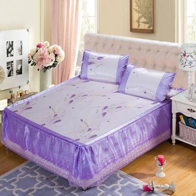 蕾丝床裙款三明治冰丝席 1.5米床 羽裳魅舞-紫色