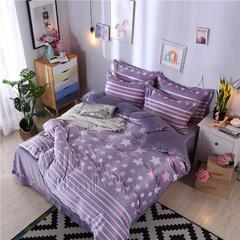 5D雕花绒四件套 1.5m(5英尺)床 魅丽星光(紫色)