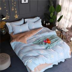 轻奢巴黎雕花绒四件套 1.2m床(床单三件套) 闪耀的星-蓝