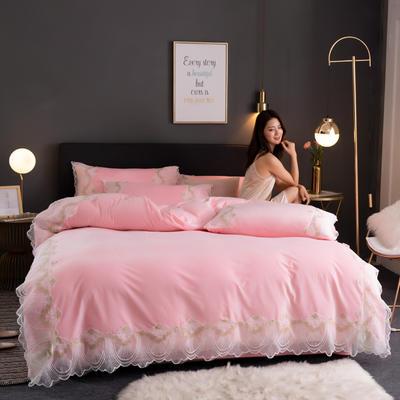 2019新款网红水晶绒蕾丝牛奶宝宝绒四件套双面法莱绒加厚法兰绒被套 1.5m床单款四件套 梦巴黎-粉玉