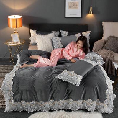 2019新款网红水晶绒蕾丝牛奶宝宝绒四件套双面法莱绒加厚法兰绒被套 1.8m床单款四件套 梦巴黎-灰色