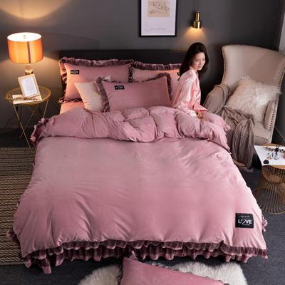 2019新款网红水晶绒蕾丝牛奶宝宝绒四件套双面法莱绒加厚法兰绒被套 1.2m床单款三件套 暖爱-豆沙