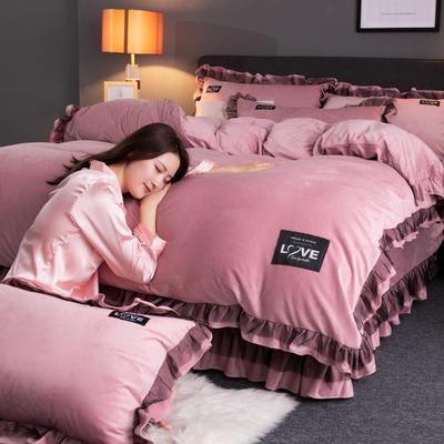 2019新款网红水晶绒蕾丝牛奶宝宝绒四件套双面法莱绒加厚法兰绒被套 2.0m床单款四件套 暖爱-豆沙