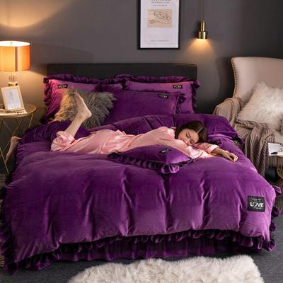2019新款网红水晶绒蕾丝牛奶宝宝绒四件套双面法莱绒加厚法兰绒被套 1.8m床单款四件套 暖爱-紫色
