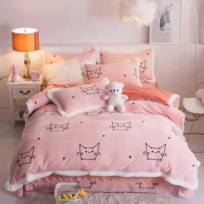 2019新款卡通柔棉绒水晶绒法兰绒宝宝绒三四件套法莱绒魔法绒 1.2m床单款三件套 幸运猫咪
