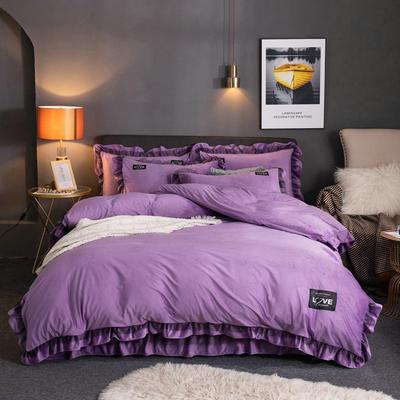 2019新款网红水晶绒蕾丝牛奶宝宝绒四件套双面法莱绒加厚法兰绒被套 1.5m床单款四件套 暖爱-丁香紫