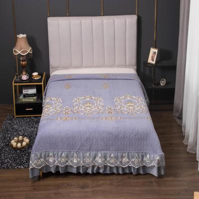 2020新款牛奶绒韩式大蕾丝宽边款夹棉床盖毯 245*250cm 简欧