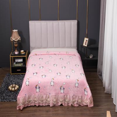 2020新款牛奶绒韩式大蕾丝宽边款夹棉床盖毯 245*250cm 可爱鸭