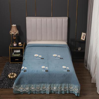 2020新款牛奶绒韩式大蕾丝宽边款夹棉床盖毯 245*250cm 小雏菊