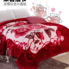 拉舍尔毛毯   秋冬拉舍尔婚庆 加厚毛毯约5.6斤  180*200cm 180*200cm 二月红