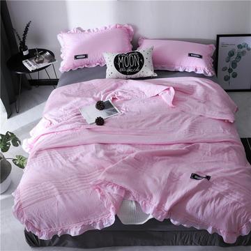 大世界韩版纯色水洗棉三件套夏被空调被夏季被子