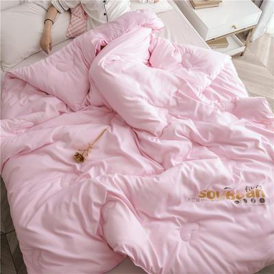 大豆纤维被芯双人夏被床上用品加厚纯棉被子冬被 150x200cm/5斤 粉色