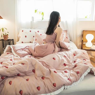 2019新款-ins风公主甜心冬被被子被芯公主被荷叶边被芯少女风 150*200cm4斤 草莓甜心-粉