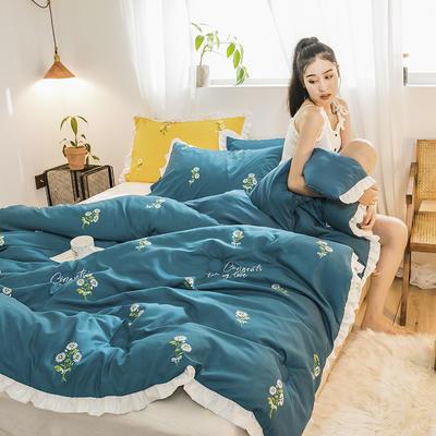 2019新款-ins风公主甜心冬被被子被芯公主被荷叶边被芯少女风 150*200cm4斤 小雏菊-蓝