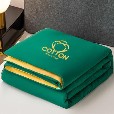2020新款新概念棉花夏被 150x200cm 墨绿+嫩黄