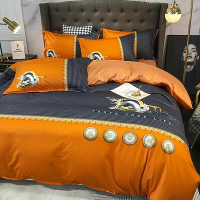 2020新款针织棉四件套 1.8m床单款四件套 杰西卡-桔