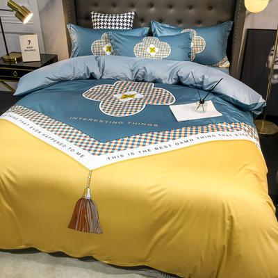 2020新款针织棉四件套 1.8m床单款四件套 秒意人生-黄