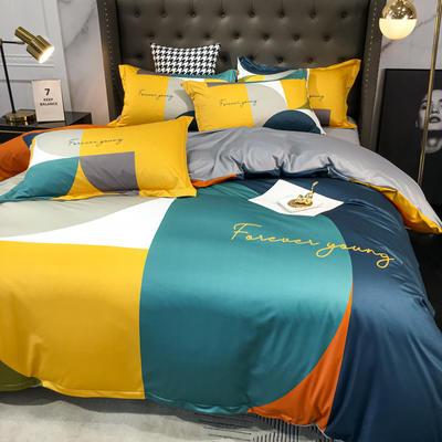 2020新款针织棉四件套 1.8m床单款四件套 塞约组合-黄