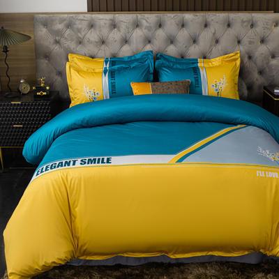 2020新款针织棉四件套 1.8m床单款四件套 奥莉薇-蓝