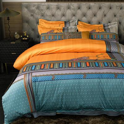 2020新款针织棉四件套 1.8m床单款四件套 帝凡斯亚-桔