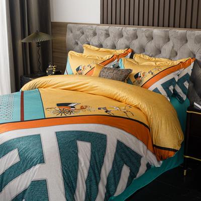 2020新款针织棉四件套 1.8m床单款四件套 花格窗庭-绿