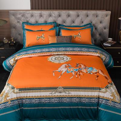 2020新款针织棉四件套 1.8m床单款四件套 马到成功-桔