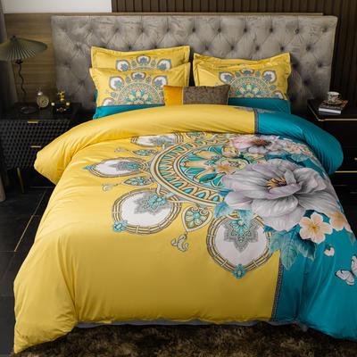 2020新款针织棉四件套 1.8m床单款四件套 赛洛华庭-黄
