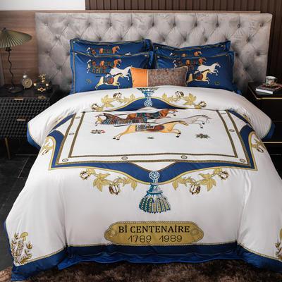 2020新款针织棉四件套 1.8m床单款四件套 天马行空-蓝