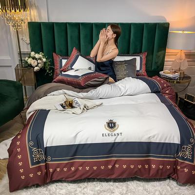 2020新款大板活性四件套 1.8m床单款四件套 皇家威尼斯-红白