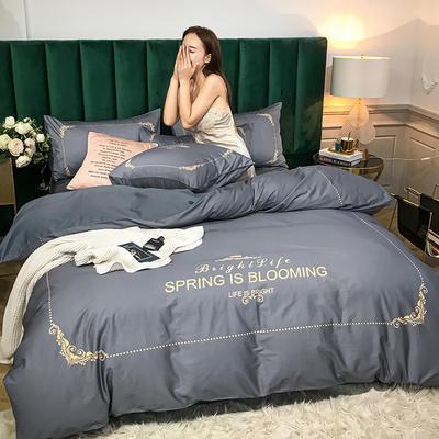 2020新款大板活性四件套 1.8m床单款四件套 皇室典雅-紫