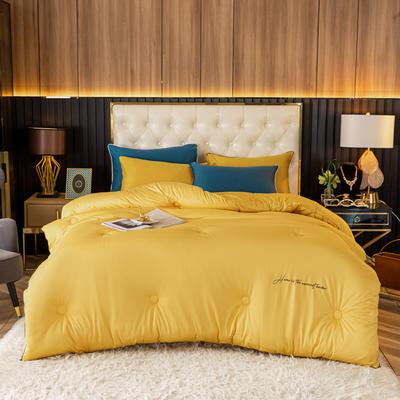 2020新款针织棉玻尿酸冬被被子被芯 200X230cm(6斤) 针织棉-嫩黄