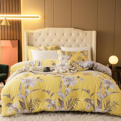 2020新款长绒棉印花冬被被子被芯 180x220cm(5斤) 花香丽人-黄