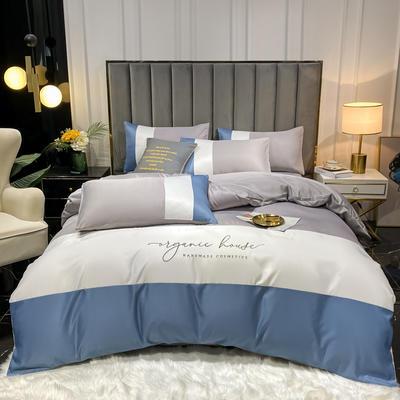 2021新款水洗冰丝三拼四件套 1.8m床单款四件套 浅灰白蓝