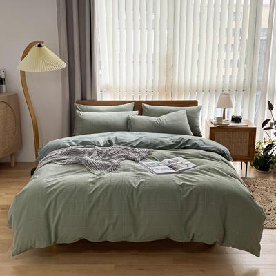 2021新款全棉色织水洗棉四件套 1.8m床单款四件套 半夏小格-豆绿