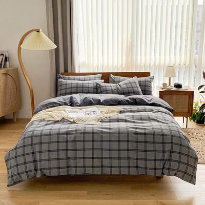 2021新款全棉色织水洗棉四件套 1.8m床单款四件套 暗香小格-灰