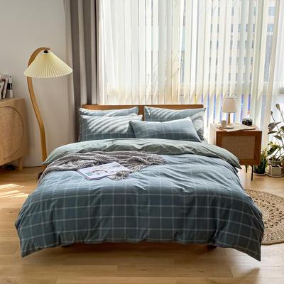 2021新款全棉色织水洗棉四件套 1.8m床单款四件套 大布丁-蓝格