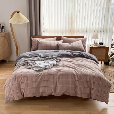 2021新款全棉色织水洗棉四件套 1.8m床单款四件套 荷莲-咖