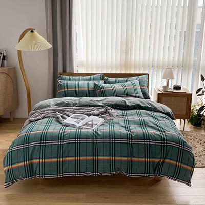 2021新款全棉色织水洗棉四件套 1.8m床单款四件套 七彩小格-绿