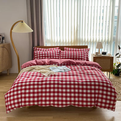 2021新款全棉色织水洗棉四件套 1.8m床单款四件套 三分格红