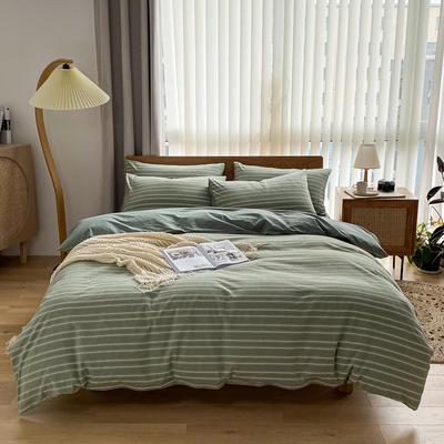 2021新款全棉色织水洗棉四件套 1.8m床单款四件套 星辰-绿