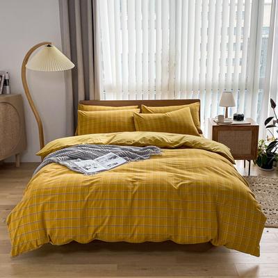 2021新款全棉色织水洗棉四件套 1.8m床单款四件套 印月-黄