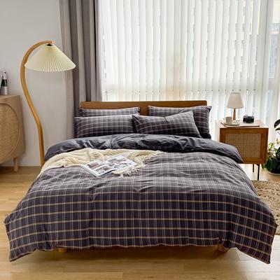 2021新款全棉色织水洗棉四件套 1.8m床单款四件套 印月-灰