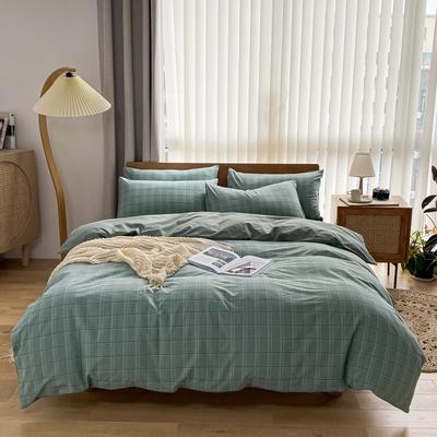 2021新款全棉色织水洗棉四件套 1.8m床单款四件套 印月-蓝