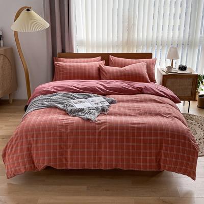 2021新款全棉色织水洗棉四件套 1.8m床单款四件套 印月-砖红
