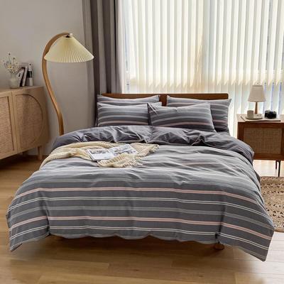 2021新款全棉色织水洗棉四件套 1.8m床单款四件套 雨林-灰