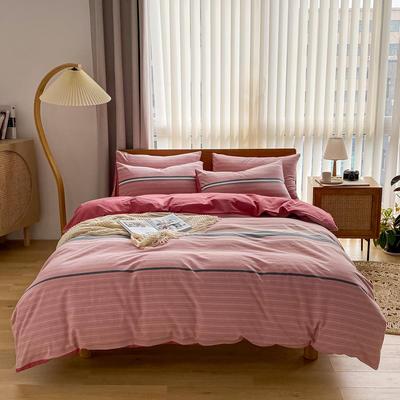2021新款全棉色织水洗棉四件套 1.8m床单款四件套 云枝-粉