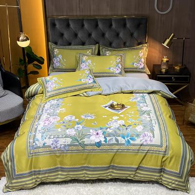 2021新款江南丝绸大版四件套 1.8m床单款四件套 繁花簇簇-黄